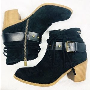 Roxy | Dallas Black Suede Buckle Heel Booties 8.5